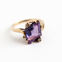 Vintage 10k Rosy Yellow Gold Created Purple Sapphire Ring - Retro Size 7 1/4 Synthetic Clear Spinel Artistic Fine Jewelry