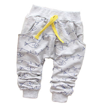 New 2015 spring Lovely Fish Fashion boy newborn pants Baby boy pants brand cotton children's pants baby clothing Autumn 7-24M
