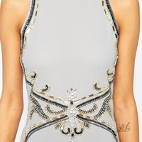 Maya Petite Halter Neck Maxi Dress With Embellishment And Keyhole Back