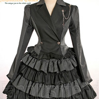Gothic Lolita Stripes Texedo Jacket&Skirt*2Pcs