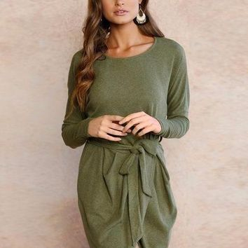 Loose Wrap Autumn Dress  - Army Green
