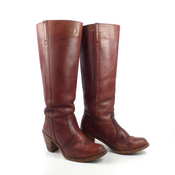 Campus Boots Vintage 1970s Whiskey Brown Leather Dexter Women's size 6 1/2