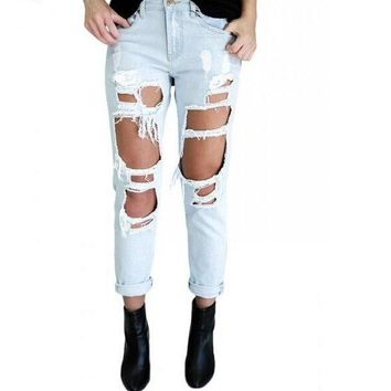 new fashion hole ripped jeans woman skinny denim jeans femme slim ripped pencil pants washed boyfriend jeans for women trousers 2