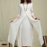 NEW COLLECTION White Loose Extravagant Dress/  Cotton White Dress, Long Wedding Dress- Custom