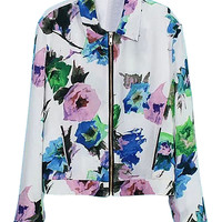 ROMWE Floral Print Dual-pocket Loose Zippered Coat