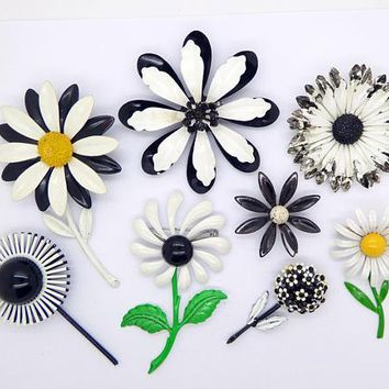 Enamel Flower Lot, 8 pins, Flower Brooches