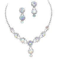 Stunning Y Drop Evening Iridescent AB Crystal Bridal Bridesmaid Necklace Earring B3