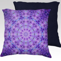 "Lavender Purple Pillow Cover, Decorative Throw Pillow Case, 18x18"", Mandala, Kaleidoscope, Flower Photography, Circle, Soft, Home Decor"