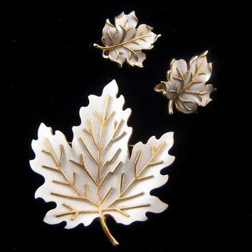 Trifari Enameled Leaf Pin with Matching Earrings