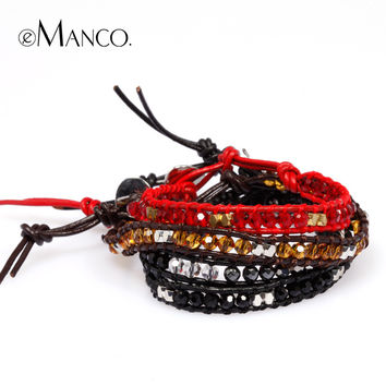 E Manco to create 2014 new style Cowhide rope hand-made woven men and women with the bracelet free shipping