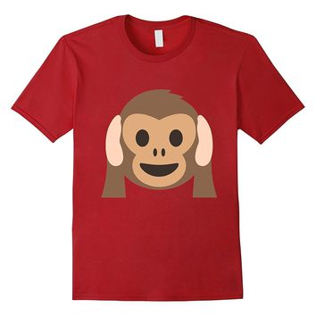 Monkey Emoji T-Shirt Hear No Evil Hands Over Ears Listen Zoo