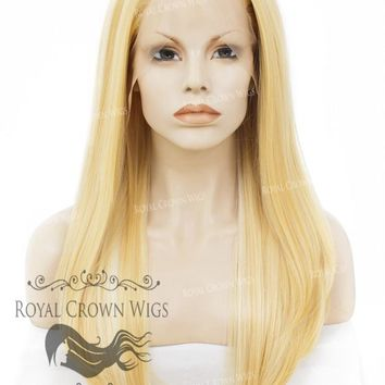 """24"""" Heat Safe Synthetic Straight Texture Lace Front """"Aphrodite"""" in Pale Yellow"""