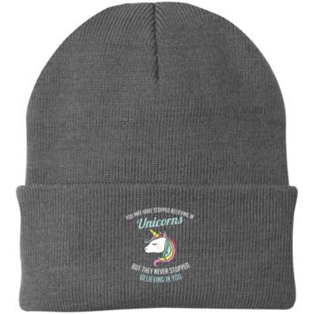 You May Have Stopped Believing In Unicorns Knit Cap