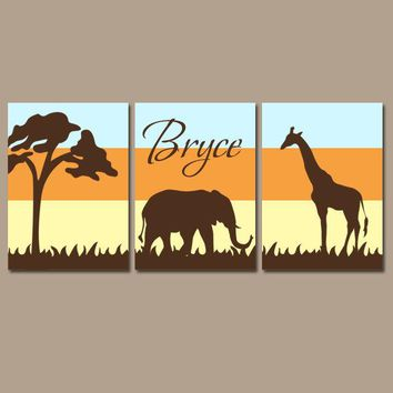 SAFARI Nursery Wall Art, Elephant Giraffe, Safari Nursery Decor, Canvas or Prints, Safari Animals Nursery, Set of 3, Gender Neutral Pictures