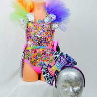 Light up Lisa Frank inspired costume for little girls / rainbow /EDC / dance wear / performance / halloween