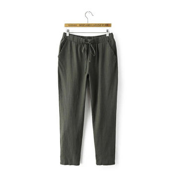 Women's Fashion Summer Cotton Linen Pants [4920285508]