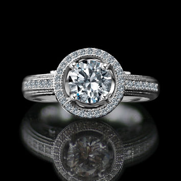 3/4 CT. Round Stunning vintage micro pave floating halo engagement ring, Simulated Diamond, Diamond Veneer.  Set in sterling silver Platinum electroplated. 635R4001