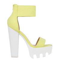 Lug Sole Platform Neon Yellow White Sandals