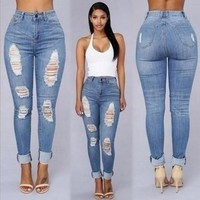 New Fashion Women Holes Denim Skinny Pants High Waist Stretch Jeans Slim Pencil Trousers