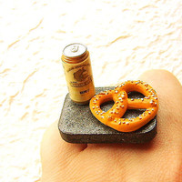 Miniature Food Ring Beer Pretzel by SouZouCreations on Etsy
