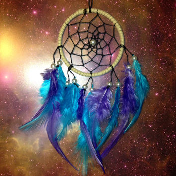 Suede dream catcher with blue & purple feathers, black web and pearl bead finish 7cm diameter dreamcatcher hand made