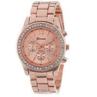 Women Fashion Metal Band Quartz Classic Round Crystals Watch Wristwatches - Red/Silver/Gold
