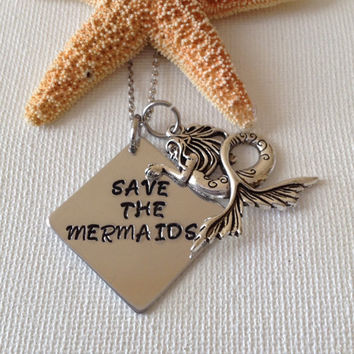 Save the mermaids necklace, mermaids necklace or keyring, gifts for her, beach wedding, mermaid lovers, ocean lovers, water lovers