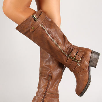 Double Buckle Zipper Strap Knee High Riding Boot