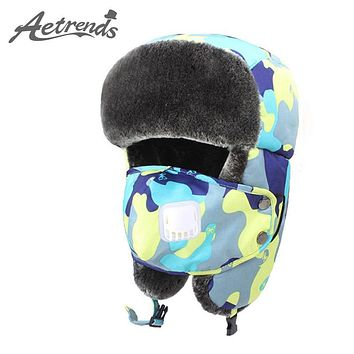 [AETRENDS] 2017 New Winter Bomber Hats Kids Outdoor Thick Warm Fur Russian Hat with Ear Flaps Bomber Cap Z-3878E