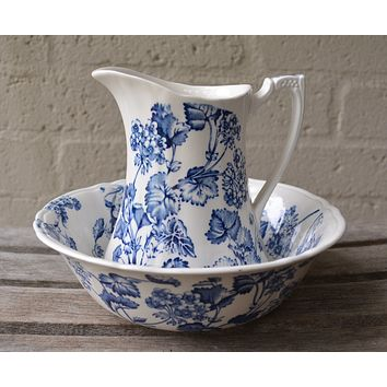 Vintage English Blue and White Transferware Pitcher and Bowl / Basin Floral and Vine Florette
