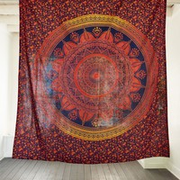 *Online Only Orange and Red Floral Mandala Tapestry*