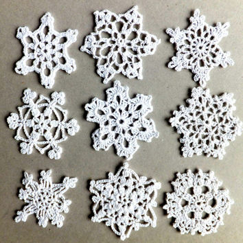 Handmade holiday ornaments, Christmas tree decorations, crocheted snowflakes, white applique /set of 9/