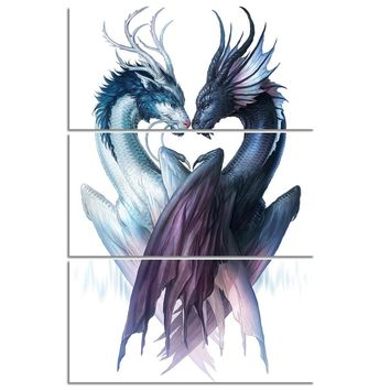 Yin and Yang Dragons Dragon by JoJoesArt HD print 3 piece canvas art Picture