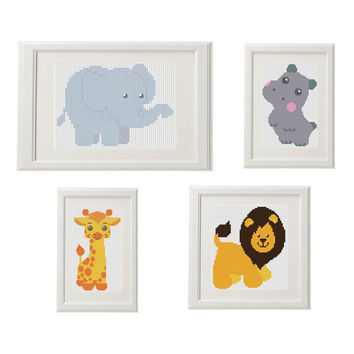 Elephant Cross stitch pattern Elephant animal Giraffe Lion Hippopotamus Cross stitch Nursery cross stitch animal crossstitch cute funny