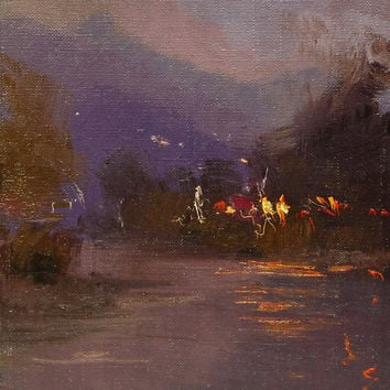 Eggplant canvas art, Small landscape painting, Oil canvas painting of beautiful evening lights on water- Mountain painting