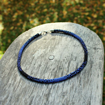 Classic blue and black color crochet beaded rope necklace, handmade jewelry, beadwork jewelry, Beaded Choker, Christmas gift idea for her
