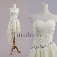Custom Beige Beaded Short Prom Dresses Bridesmaid Dresses 2014 Wedding Party Dress Homecoming Dresses Evening Dresses Cocktail Dresses