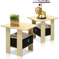 Furinno 2-11157SBE End Table Bedroom Night Stand Set of 2