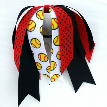 Red and black softball hair streamer, team hair bows, ladybug dot dot ponytail ribbon, softball ribbon hair tie, team sports, softball bow