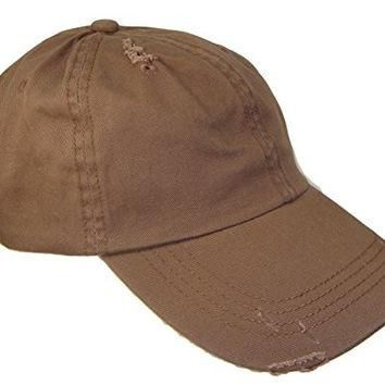 Distressed Weathered Vintage Polo Style Baseball Cap (One Size, Brown)