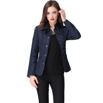 British Style 2017 Women's Quilted Jacket Turn-down Collar Jaqueta Femininav Slim Female Jacket Short Coat Plus Size 3XL