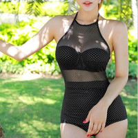 Dot High Waist One Piece Swimsuit Swimwear
