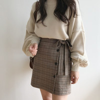 A-Line Plaid Skirt from shopyukii