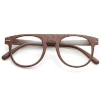 Artistic Wood Print Indie Key Hole Flat Top Round Clear Lens Glasses 9152