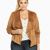 Faux Suede Layered Drape Front Jacket