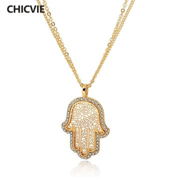 CHICVIE Long Gold Color Crystal Necklaces For Women Fatima Evil Eye Hand Pendants New Ethnic Jewelry 2017 Vintage Accessories