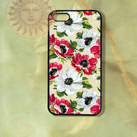 Red and White Flowers iPhone 5 5s 5c 4s 4 Ipod touch 5 Samsung GS3 GS4 case-Silicone Rubber Hard Plastic Case, Phone cover