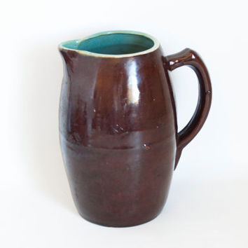 Vintage Heavy Stoneware Pitcher, Brown Glaze Turquoise Interior Water Jug, Uhl Pottery (?)