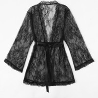 Self Tie Floral Lace Robe -SheIn(Sheinside)