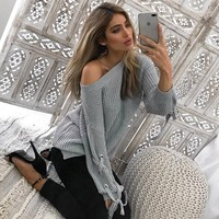 Round-neck Pullover Winter Casual Knit Tops Sweater [22426648602]